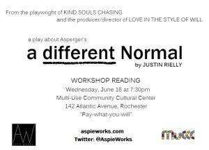 "This is the poster for the premiere reading of the Aspie Works production ""A Different Normal."""