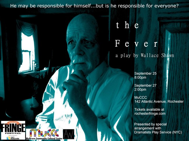 "This is the official poster for Aspie Works' presentation of Wallace Shawn's play ""The Fever."""