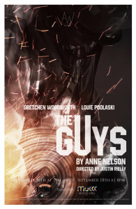 "This is the official poster of Aspie Works' presentation of Anne Nelson's ""The Guys."""