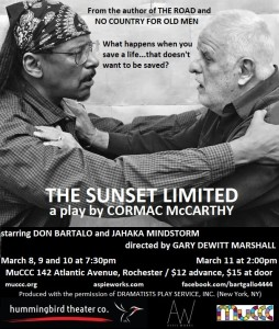 "This is the official poster of Aspie Works and Hummingbird Theater Co.'s production of ""The Sunset Limited."""